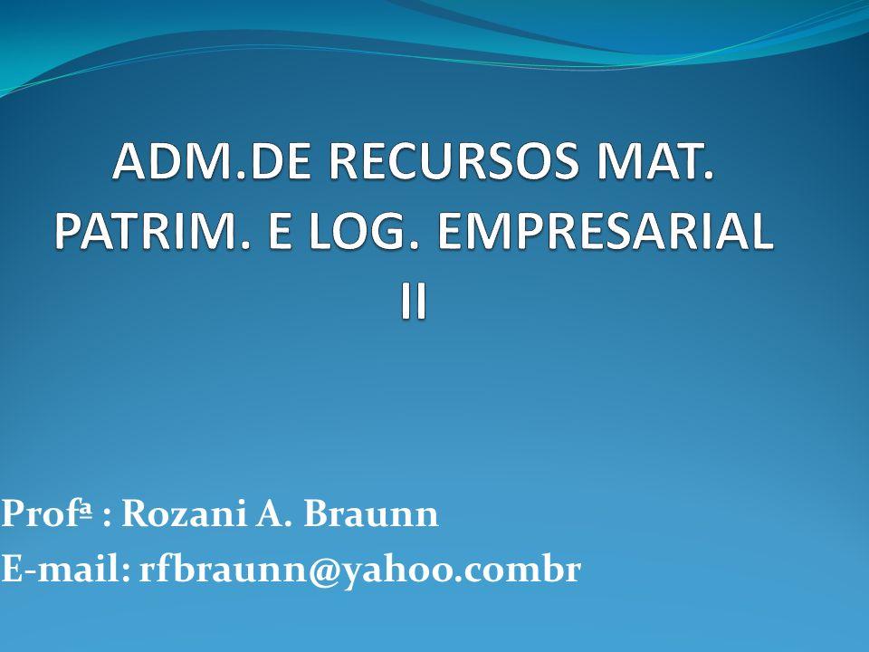 Profª : Rozani A. Braunn E-mail: rfbraunn@yahoo.combr