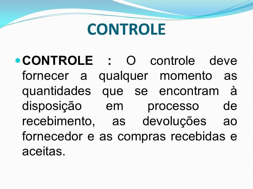 CONTROLE CONTROLE : O controle deve fornecer a qualquer momento as quantidades que se encontram à disposição em processo de recebimento, as devoluções