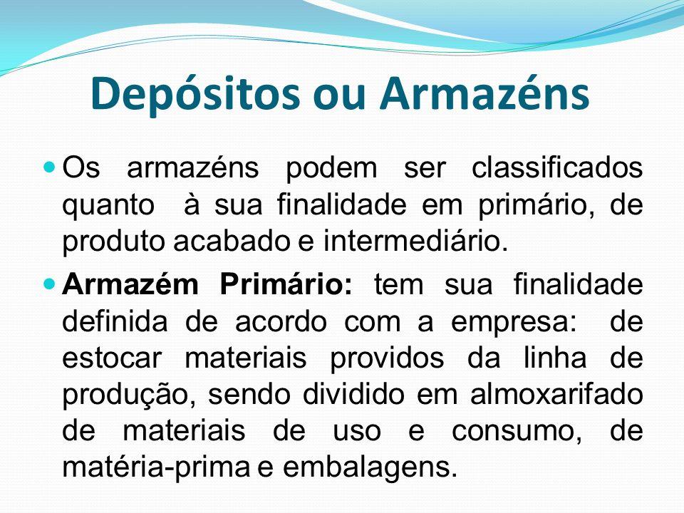 Depósitos ou Armazéns Os armazéns podem ser classificados quanto à sua finalidade em primário, de produto acabado e intermediário. Armazém Primário: t
