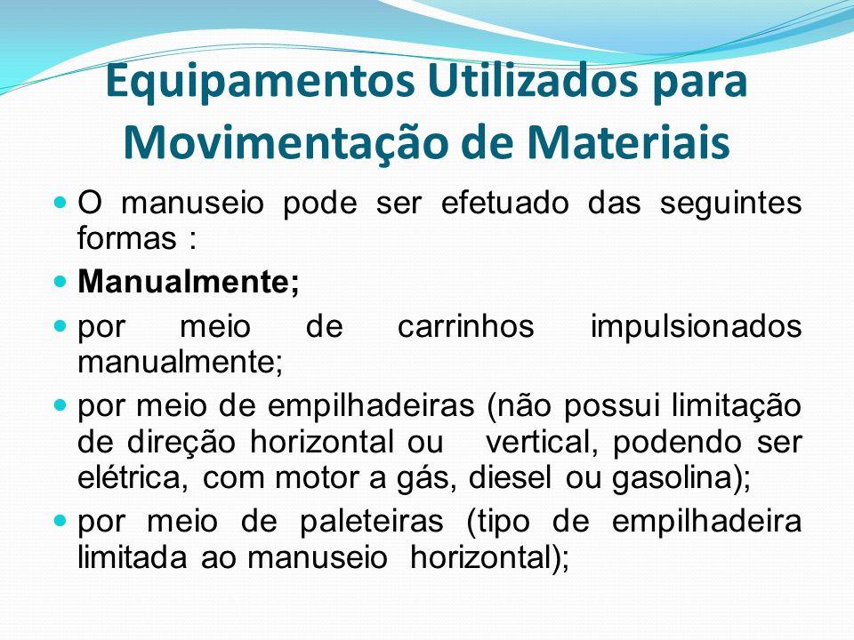 Equipamentos Utilizados para Movimentação de Materiais O manuseio pode ser efetuado das seguintes formas : Manualmente; por meio de carrinhos impulsio