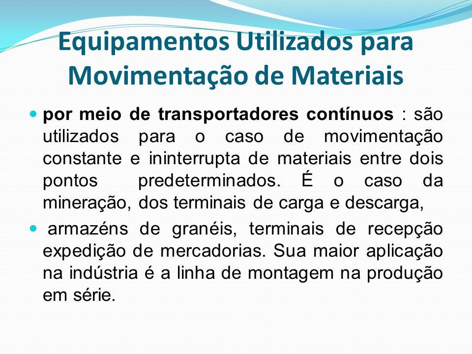 Equipamentos Utilizados para Movimentação de Materiais por meio de transportadores contínuos : são utilizados para o caso de movimentação constante e