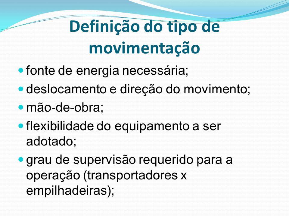 Definição do tipo de movimentação fonte de energia necessária; deslocamento e direção do movimento; mão-de-obra; flexibilidade do equipamento a ser ad