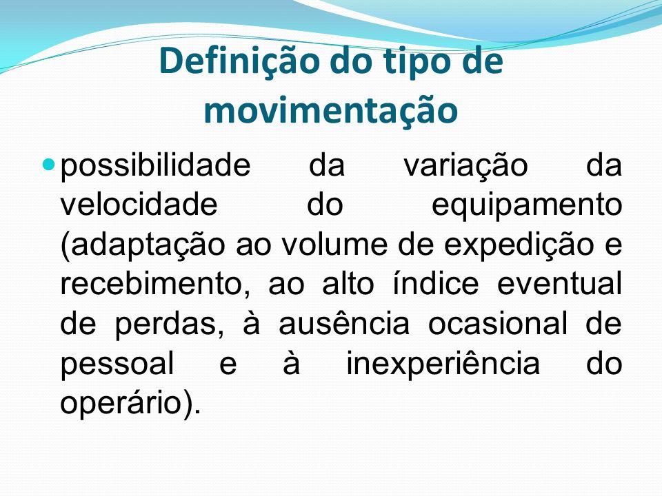 Definição do tipo de movimentação possibilidade da variação da velocidade do equipamento (adaptação ao volume de expedição e recebimento, ao alto índi