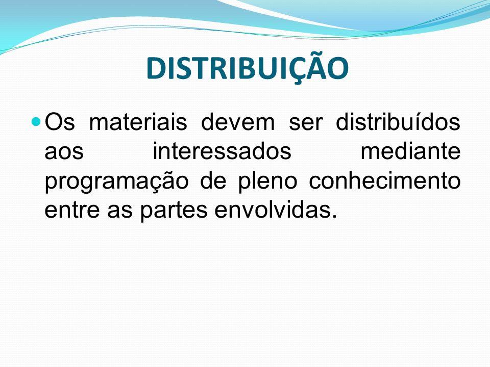 DISTRIBUIÇÃO Os materiais devem ser distribuídos aos interessados mediante programação de pleno conhecimento entre as partes envolvidas.
