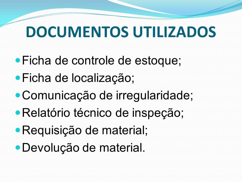 DOCUMENTOS UTILIZADOS Ficha de controle de estoque; Ficha de localização; Comunicação de irregularidade; Relatório técnico de inspeção; Requisição de