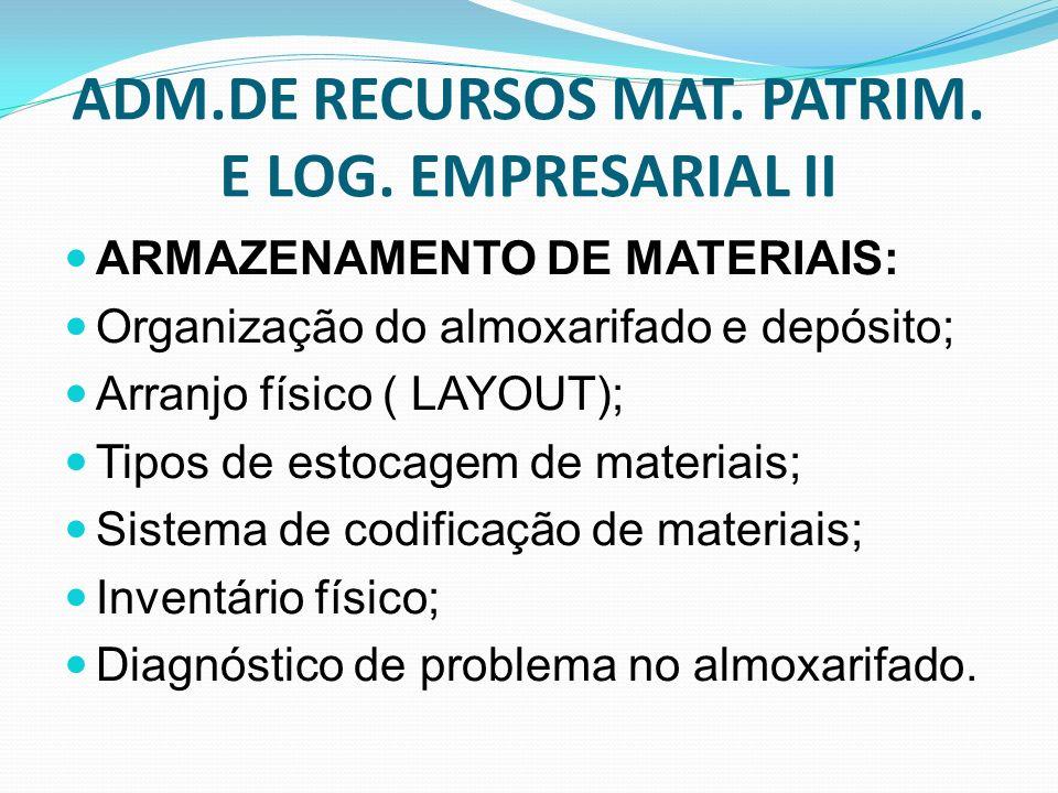ADM.DE RECURSOS MAT. PATRIM. E LOG. EMPRESARIAL II ARMAZENAMENTO DE MATERIAIS: Organização do almoxarifado e depósito; Arranjo físico ( LAYOUT); Tipos