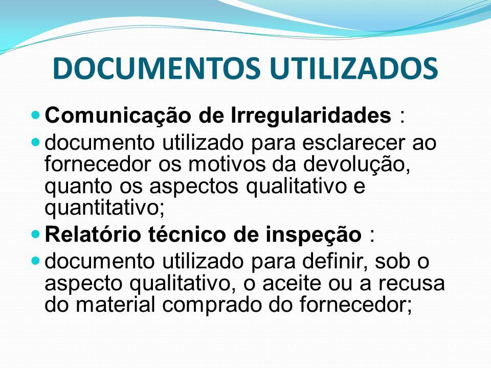 DOCUMENTOS UTILIZADOS Comunicação de Irregularidades : documento utilizado para esclarecer ao fornecedor os motivos da devolução, quanto os aspectos q