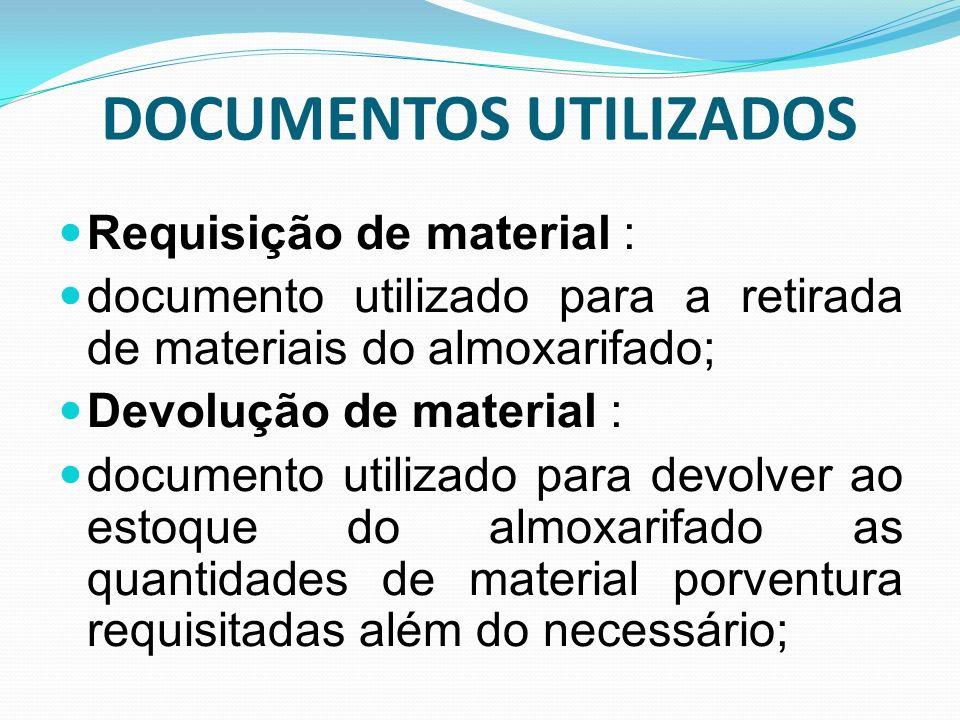 DOCUMENTOS UTILIZADOS Requisição de material : documento utilizado para a retirada de materiais do almoxarifado; Devolução de material : documento uti