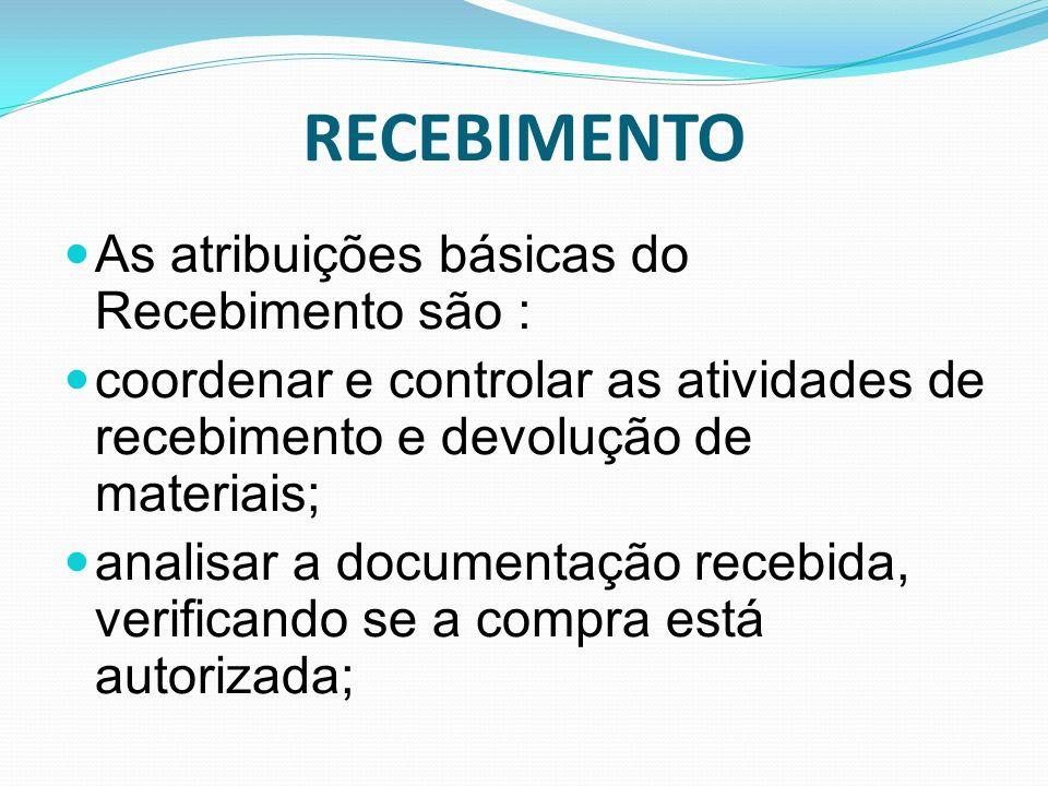 RECEBIMENTO As atribuições básicas do Recebimento são : coordenar e controlar as atividades de recebimento e devolução de materiais; analisar a docume