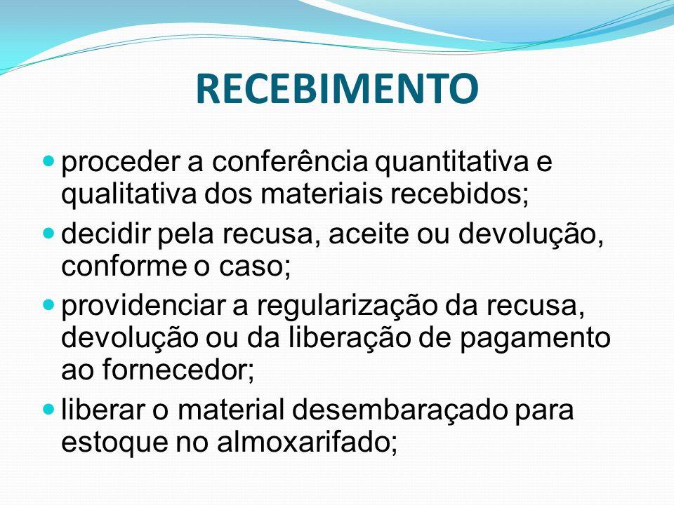 RECEBIMENTO proceder a conferência quantitativa e qualitativa dos materiais recebidos; decidir pela recusa, aceite ou devolução, conforme o caso; prov