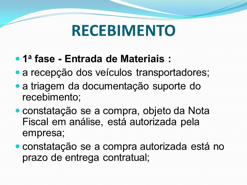 RECEBIMENTO 1 a fase - Entrada de Materiais : a recepção dos veículos transportadores; a triagem da documentação suporte do recebimento; constatação s