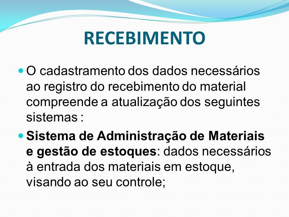 RECEBIMENTO O cadastramento dos dados necessários ao registro do recebimento do material compreende a atualização dos seguintes sistemas : Sistema de