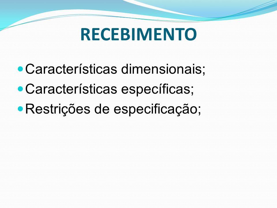 RECEBIMENTO Características dimensionais; Características específicas; Restrições de especificação;