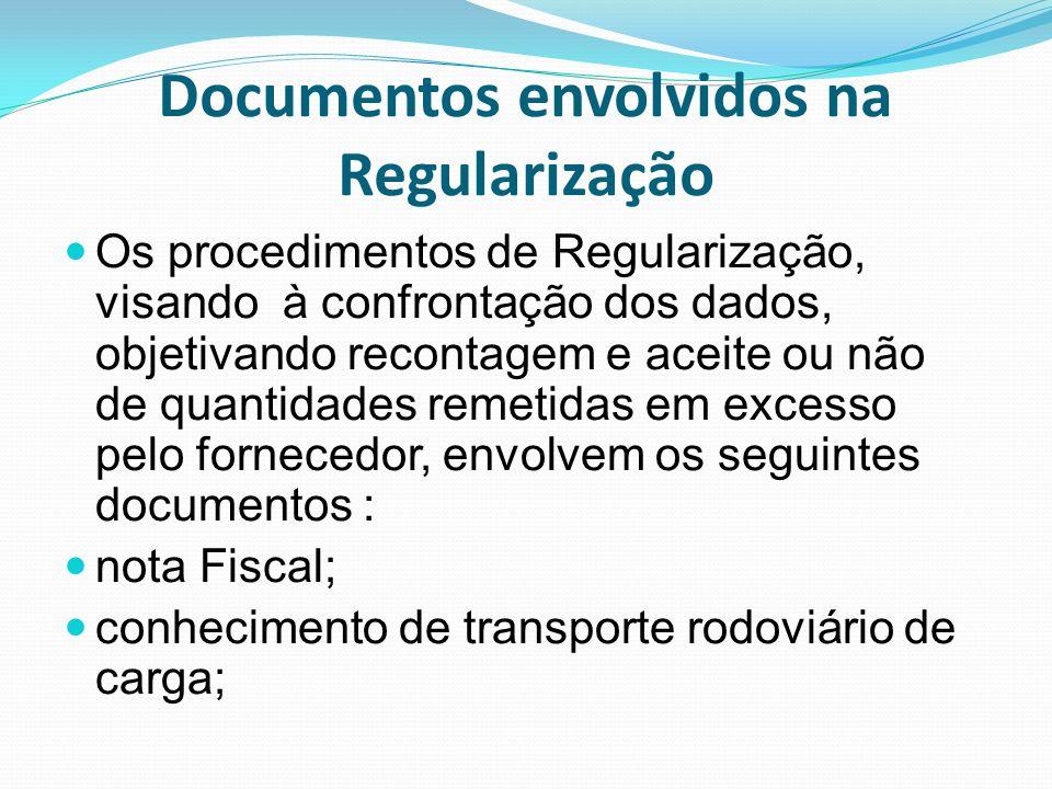 Documentos envolvidos na Regularização Os procedimentos de Regularização, visando à confrontação dos dados, objetivando recontagem e aceite ou não de