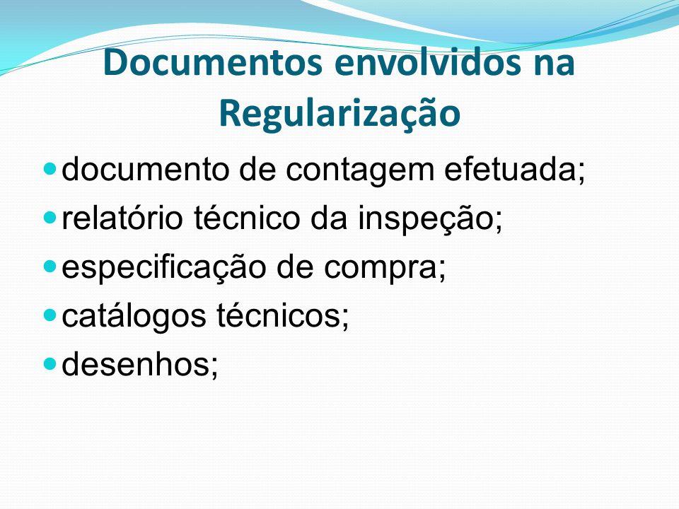 Documentos envolvidos na Regularização documento de contagem efetuada; relatório técnico da inspeção; especificação de compra; catálogos técnicos; des