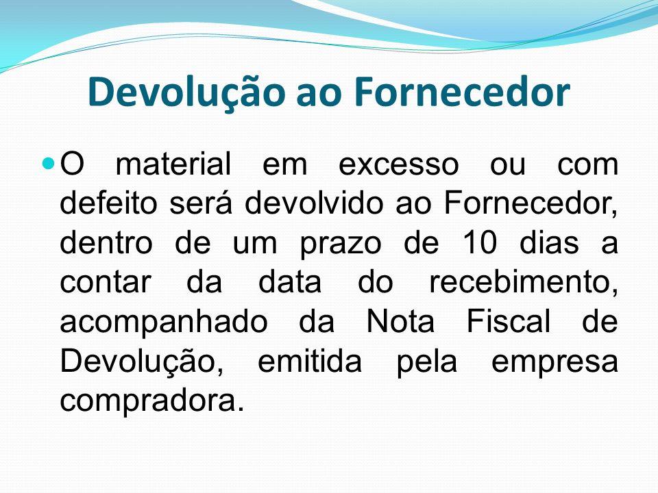 Devolução ao Fornecedor O material em excesso ou com defeito será devolvido ao Fornecedor, dentro de um prazo de 10 dias a contar da data do recebimen