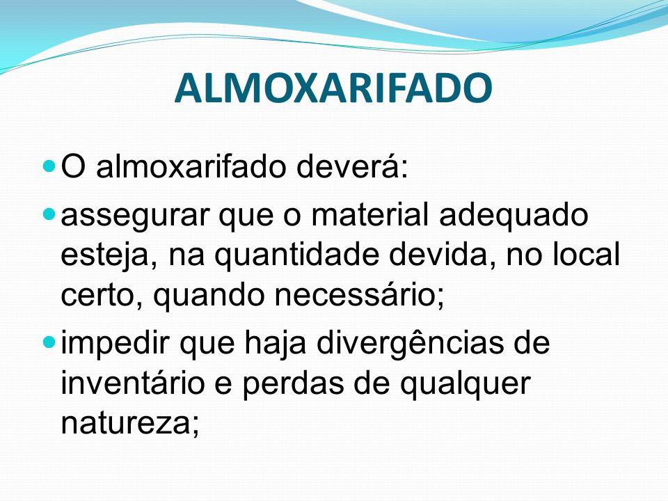 ALMOXARIFADO O almoxarifado deverá: assegurar que o material adequado esteja, na quantidade devida, no local certo, quando necessário; impedir que haj