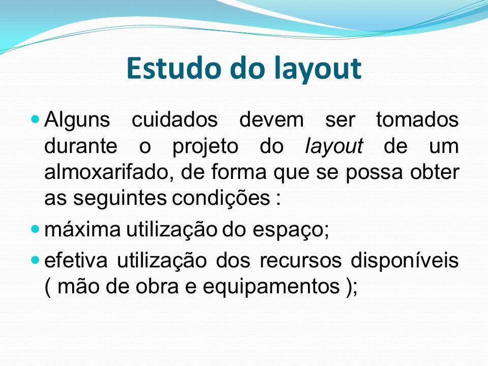 Estudo do layout Alguns cuidados devem ser tomados durante o projeto do layout de um almoxarifado, de forma que se possa obter as seguintes condições