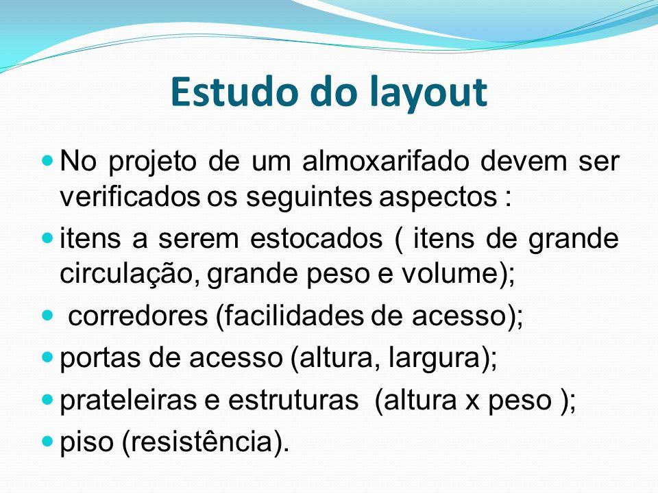Estudo do layout No projeto de um almoxarifado devem ser verificados os seguintes aspectos : itens a serem estocados ( itens de grande circulação, gra