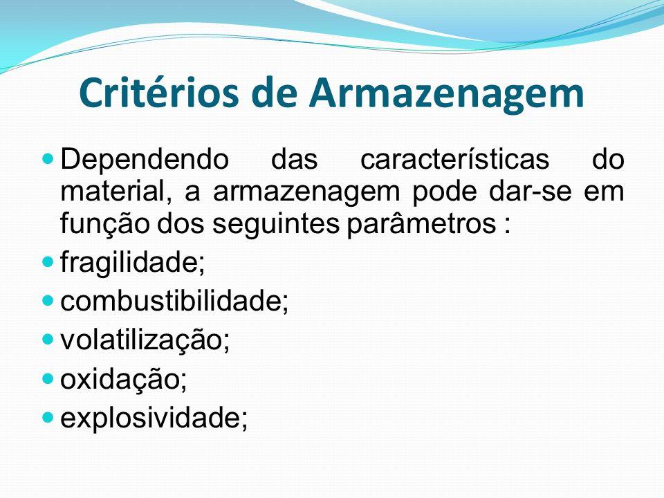 Critérios de Armazenagem Dependendo das características do material, a armazenagem pode dar-se em função dos seguintes parâmetros : fragilidade; combu