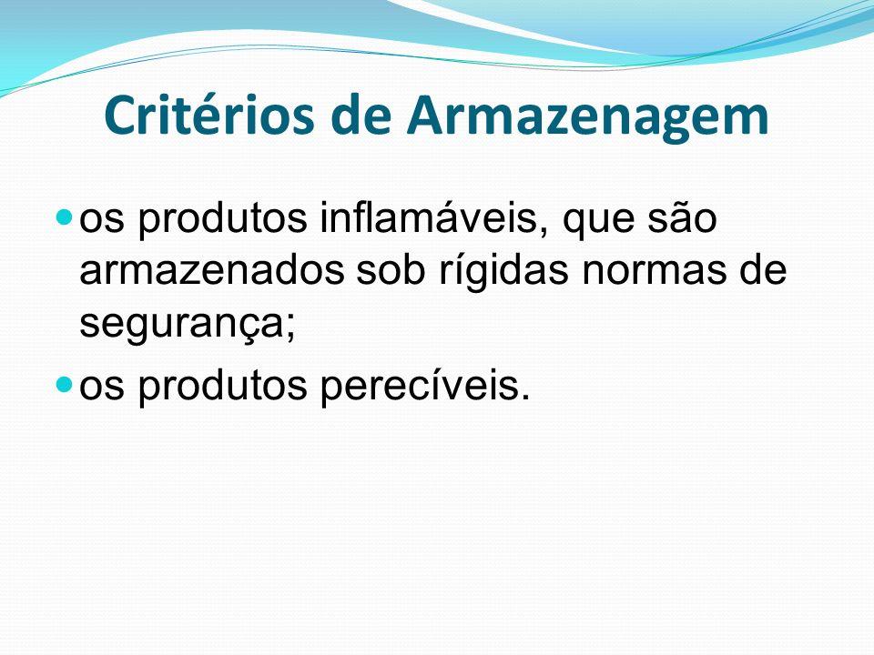 Critérios de Armazenagem os produtos inflamáveis, que são armazenados sob rígidas normas de segurança; os produtos perecíveis.