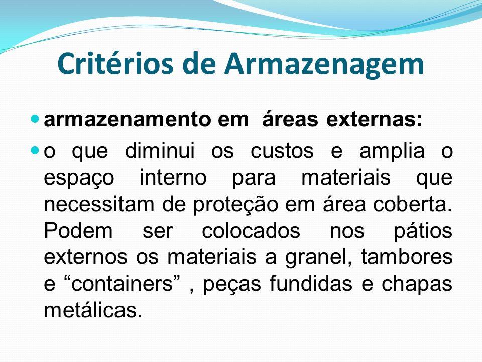 Critérios de Armazenagem armazenamento em áreas externas: o que diminui os custos e amplia o espaço interno para materiais que necessitam de proteção
