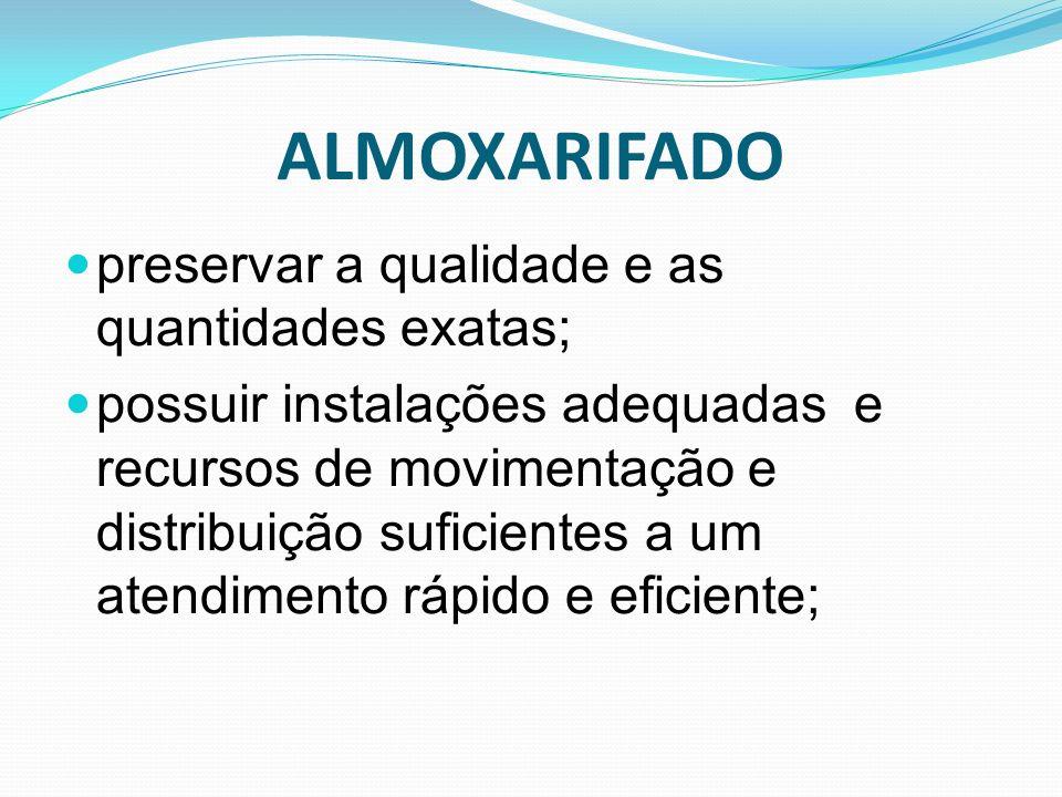 ALMOXARIFADO preservar a qualidade e as quantidades exatas; possuir instalações adequadas e recursos de movimentação e distribuição suficientes a um a