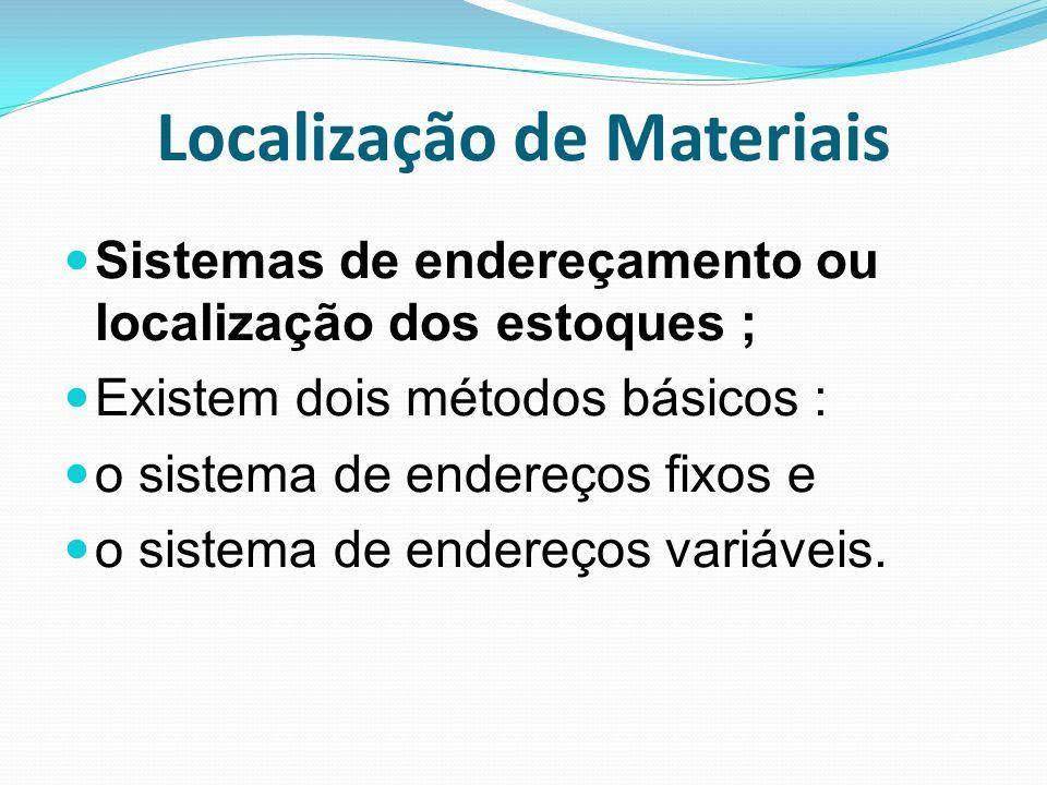 Localização de Materiais Sistemas de endereçamento ou localização dos estoques ; Existem dois métodos básicos : o sistema de endereços fixos e o siste
