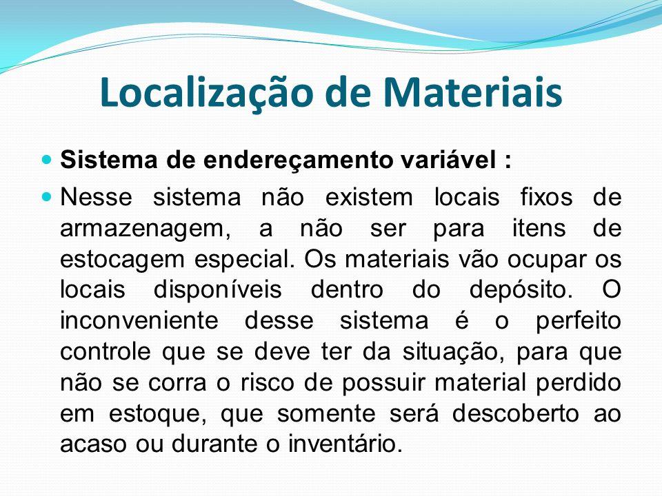 Localização de Materiais Sistema de endereçamento variável : Nesse sistema não existem locais fixos de armazenagem, a não ser para itens de estocagem