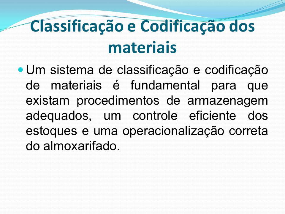 Classificação e Codificação dos materiais Um sistema de classificação e codificação de materiais é fundamental para que existam procedimentos de armaz