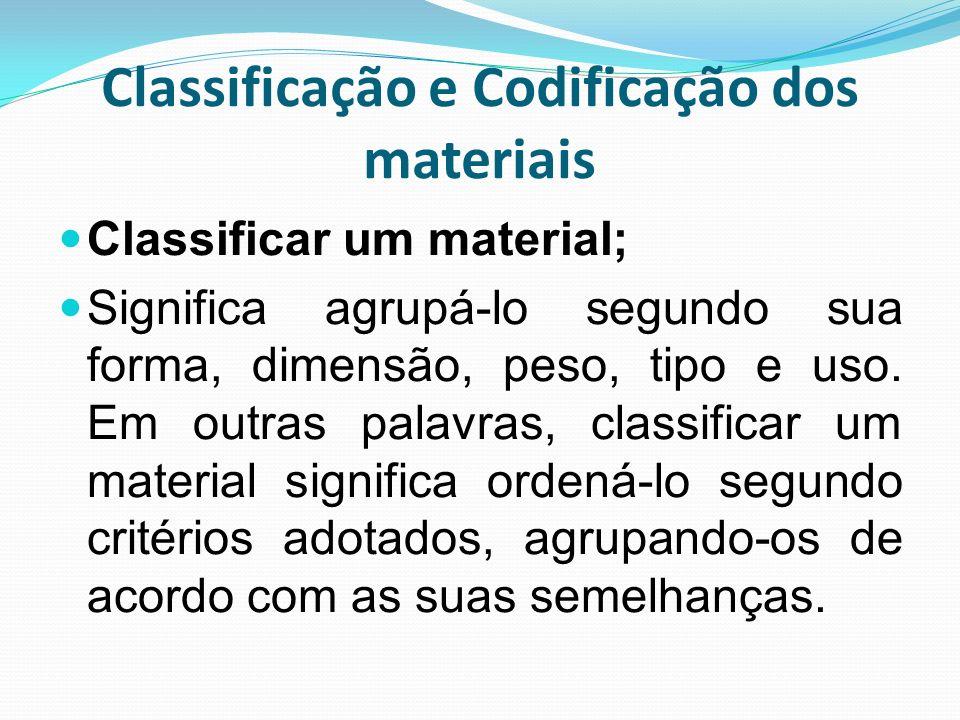 Classificação e Codificação dos materiais Classificar um material; Significa agrupá-lo segundo sua forma, dimensão, peso, tipo e uso. Em outras palavr