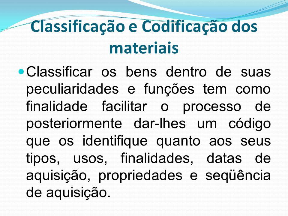 Classificação e Codificação dos materiais Classificar os bens dentro de suas peculiaridades e funções tem como finalidade facilitar o processo de post