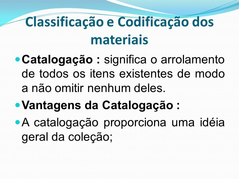 Classificação e Codificação dos materiais Catalogação : significa o arrolamento de todos os itens existentes de modo a não omitir nenhum deles. Vantag