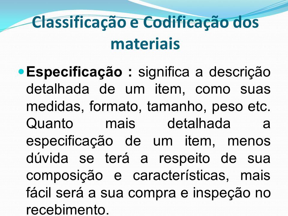 Classificação e Codificação dos materiais Especificação : significa a descrição detalhada de um item, como suas medidas, formato, tamanho, peso etc. Q