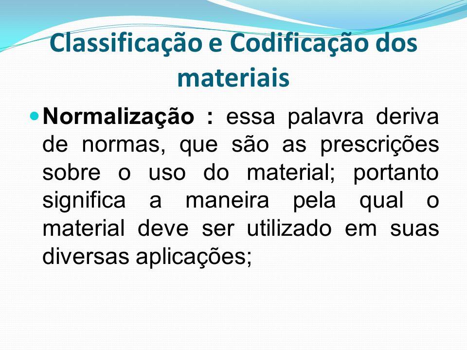 Classificação e Codificação dos materiais Normalização : essa palavra deriva de normas, que são as prescrições sobre o uso do material; portanto signi