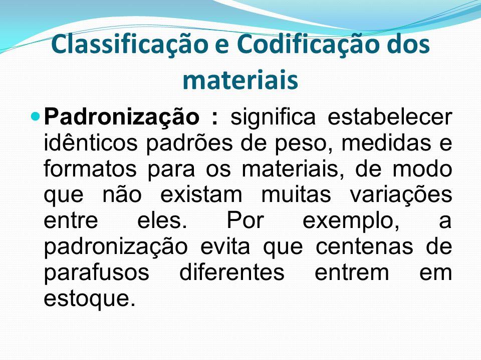 Classificação e Codificação dos materiais Padronização : significa estabelecer idênticos padrões de peso, medidas e formatos para os materiais, de mod