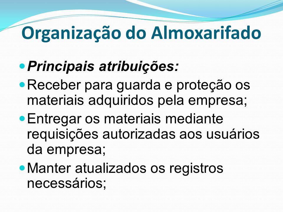 Organização do Almoxarifado Principais atribuições: Receber para guarda e proteção os materiais adquiridos pela empresa; Entregar os materiais mediant