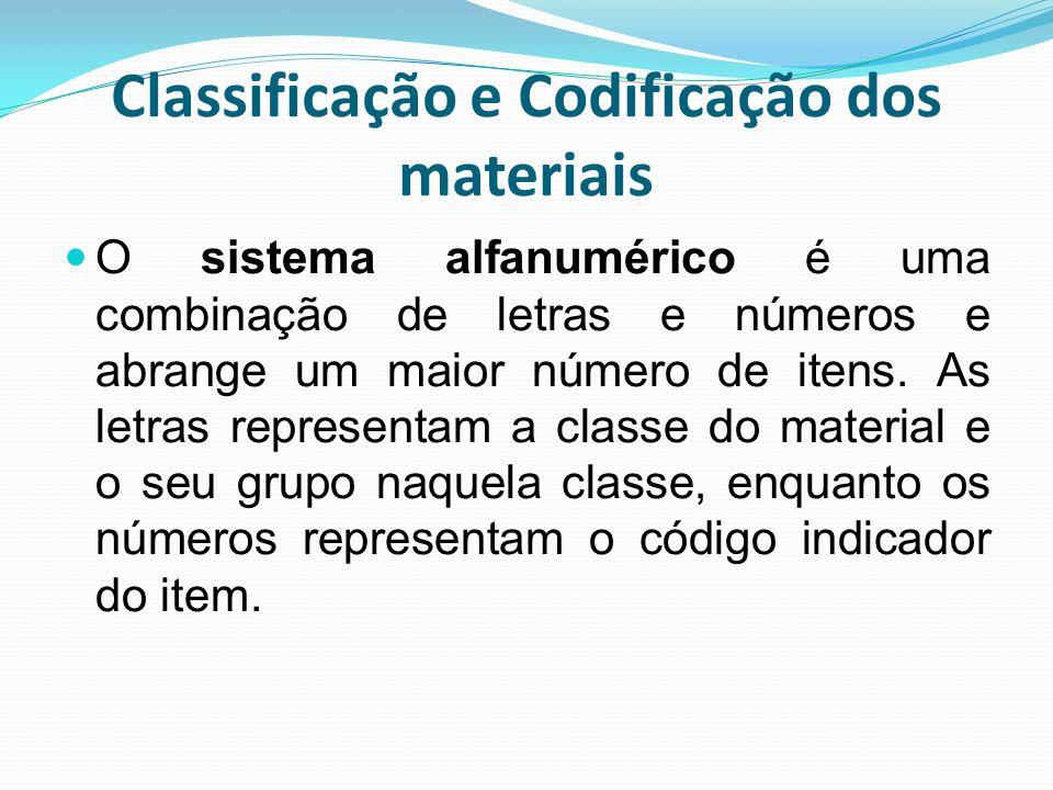 Classificação e Codificação dos materiais O sistema alfanumérico é uma combinação de letras e números e abrange um maior número de itens. As letras re