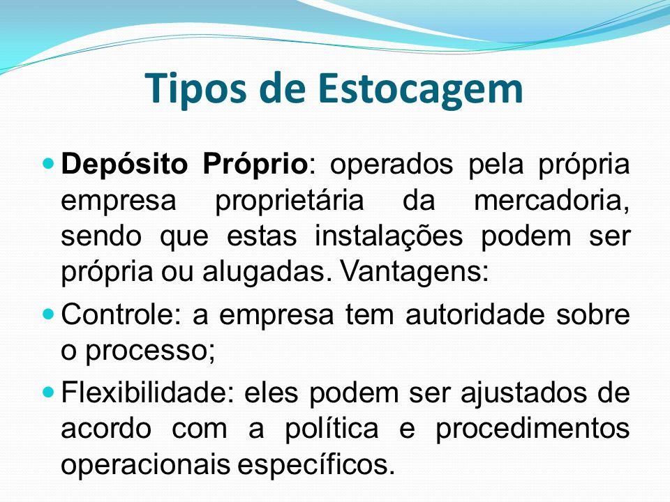 Tipos de Estocagem Depósito Próprio: operados pela própria empresa proprietária da mercadoria, sendo que estas instalações podem ser própria ou alugad