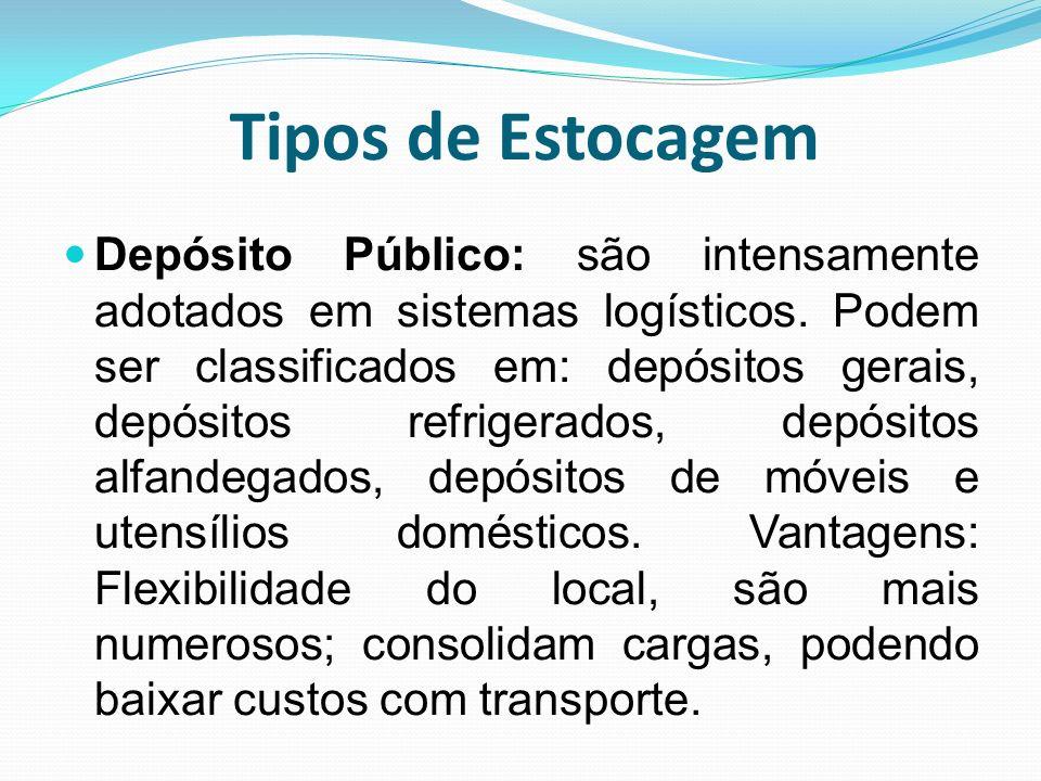 Tipos de Estocagem Depósito Público: são intensamente adotados em sistemas logísticos. Podem ser classificados em: depósitos gerais, depósitos refrige