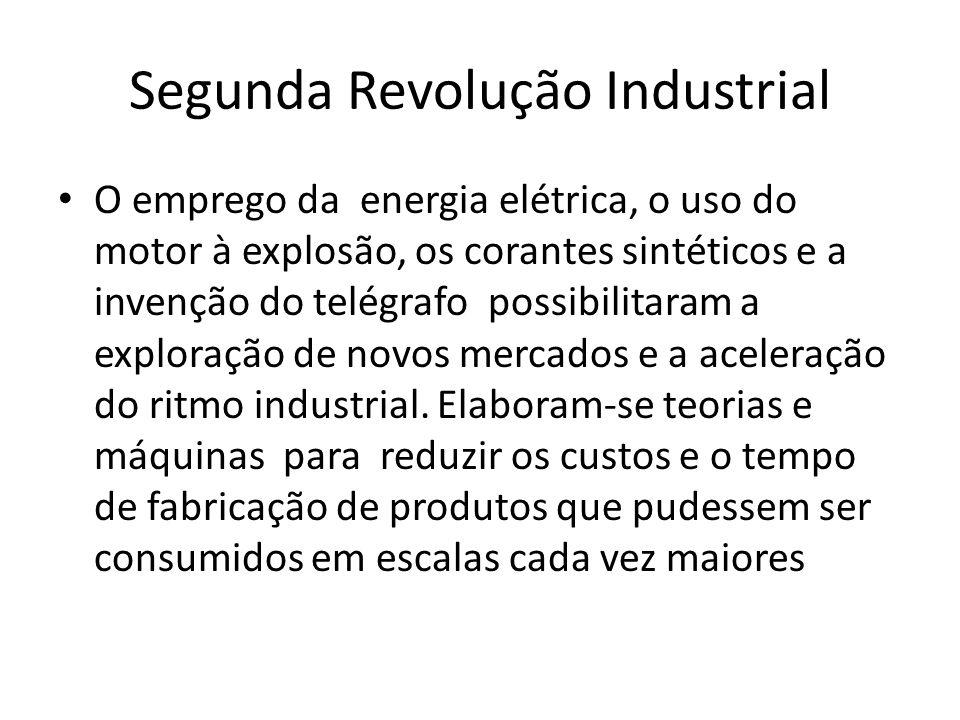 Segunda Revolução Industrial O emprego da energia elétrica, o uso do motor à explosão, os corantes sintéticos e a invenção do telégrafo possibilitaram