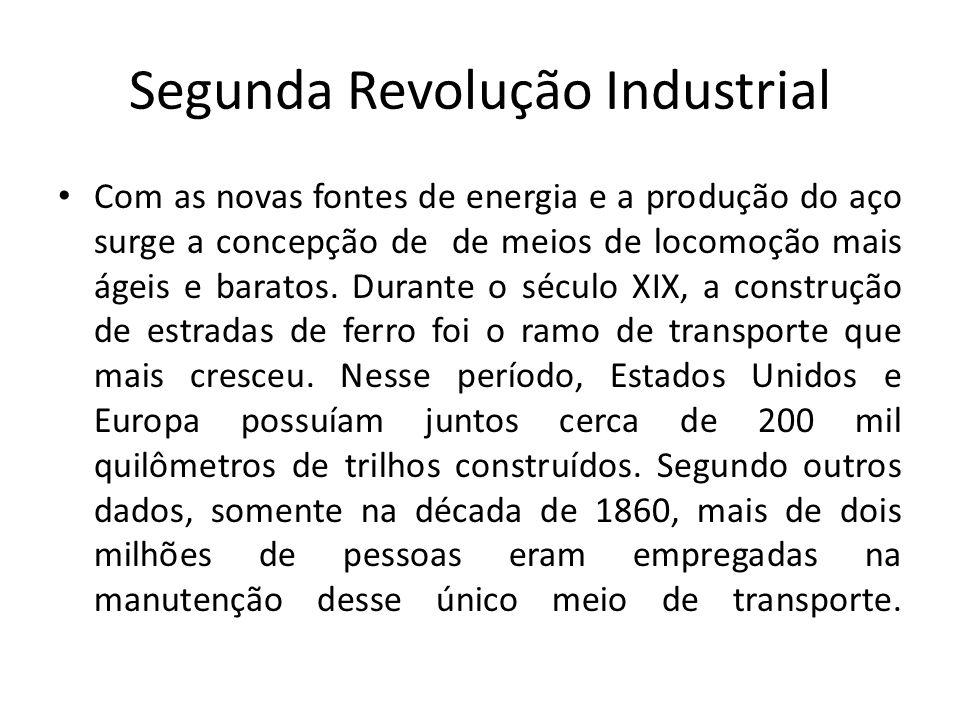 Segunda Revolução Industrial Com as novas fontes de energia e a produção do aço surge a concepção de de meios de locomoção mais ágeis e baratos. Duran