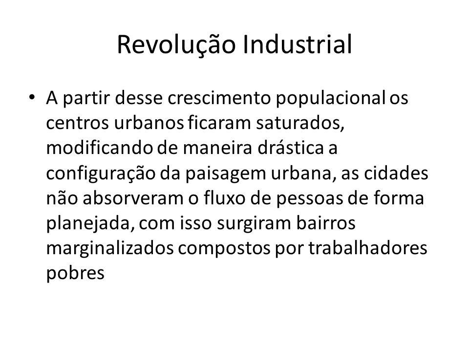 Revolução Industrial A partir desse crescimento populacional os centros urbanos ficaram saturados, modificando de maneira drástica a configuração da p