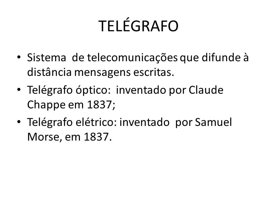 TELÉGRAFO Sistema de telecomunicações que difunde à distância mensagens escritas. Telégrafo óptico: inventado por Claude Chappe em 1837; Telégrafo elé