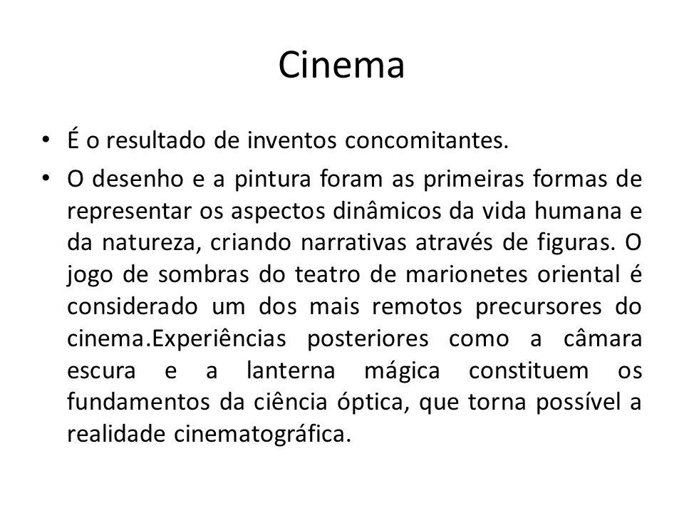 Cinema É o resultado de inventos concomitantes. O desenho e a pintura foram as primeiras formas de representar os aspectos dinâmicos da vida humana e