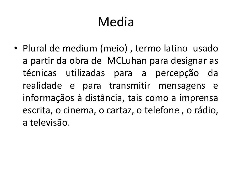 Media Plural de medium (meio), termo latino usado a partir da obra de MCLuhan para designar as técnicas utilizadas para a percepção da realidade e par