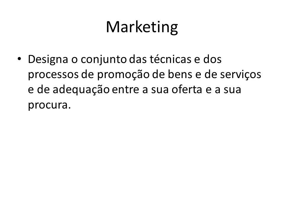 Marketing Designa o conjunto das técnicas e dos processos de promoção de bens e de serviços e de adequação entre a sua oferta e a sua procura.