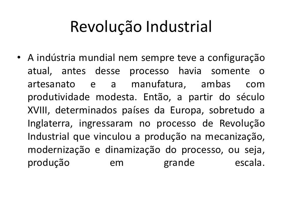 Revolução Industrial A indústria mundial nem sempre teve a configuração atual, antes desse processo havia somente o artesanato e a manufatura, ambas c