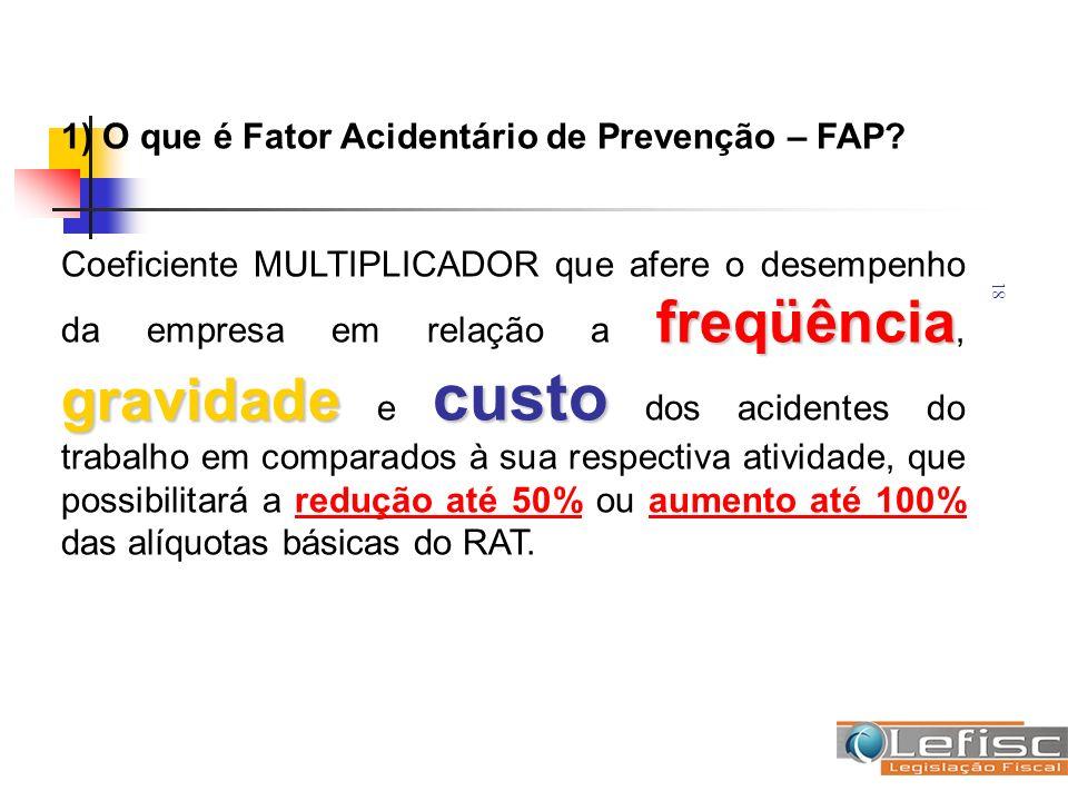 18 1) O que é Fator Acidentário de Prevenção – FAP? freqüência gravidade custo Coeficiente MULTIPLICADOR que afere o desempenho da empresa em relação