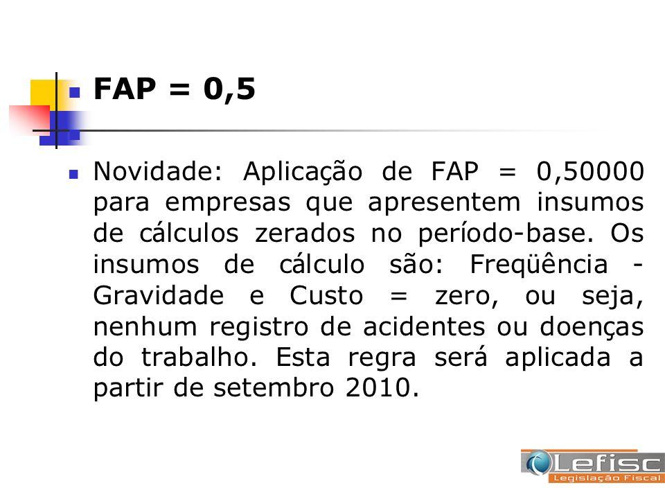 FAP = 0,5 Novidade: Aplica ç ão de FAP = 0,50000 para empresas que apresentem insumos de c á lculos zerados no per í odo-base. Os insumos de c á lculo